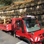 Abbau Hütte Tennisplatz - Holztransport zum Bauhof mit U530