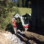Wegverlegung Bernhard's Stall, Schremmarbeiten mit TB 216