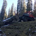 Forstarbeiten Zugertal, mit U1600 und Seilwinde
