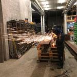 Stahlbrennarbeiten für Rohrlager neu am Bauhofdach