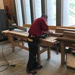Arbeiten in der Tischlerei für das Museum Huber Haus
