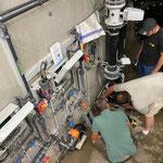 Reparierte Pumpen wieder montieren