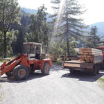 Holz bei Sägerei abholen in Dalaas, mit U400, Göglhänger...