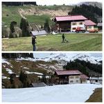 Schnee von gestern. Oben 2020, unten 2021: Splitt kratzen Stubenbach