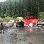 Bauhofdach aufräumen, mit U400 Fass und Hochdruck