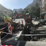 Grabungsarbeiten für Telekom, Gemeindezentrum