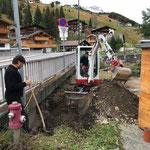 Wasserleitung ausgraben Landbrugg