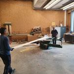 Vorbereitungsarbeiten in der Tischlerei, Sanierung hintere Butzenbrücke