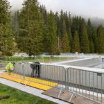 Waldbad, Elektrokabel verlegen für Poolabdeckung Sportbecken