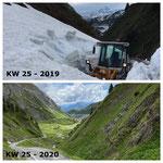 Schnee von gestern: Schneeräumung Richtung Ravensburgerhütte/Brazer Staffel mit Lader 524