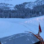 Immer wieder beeindruckend: die Schneemengen Richtung Fischteich in Zug