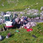 Bagger- und Bohrarbeiten Wasserfassung Flexenbach für Wasserscheide