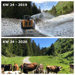 Schnee von gestern: Auffräsen Lechweg zwischen Rinder- und Chuaschwob 2019, mit Lader 509