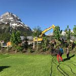 Kabel auslegen und Verlegung unter der Tannbergstraße vom Hotel Arlberg zum Schneider Stall