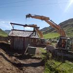 Hütte auf provisorischen Standort versetzen