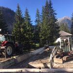 Waldbad Lech - Abrissarbeiten mit Bagger