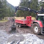 Neubau Vordere Butzenbrücke: Einsanden der Heizwerkleitung