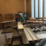 Vorbereitungsarbeiten in der Tischlerei für Reparatur Waldbad-Eingangsbereich