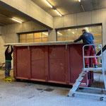 Plane einziehen Grünschnittcontainer, Fahrt zur Entsorgung nach Klaus, mit U530