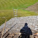 Hütte Flexenarena, Dach Sanierungsarbeiten