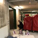 Umbau Feuerwehrhaus, Vorbereitungen für Malarbeiten