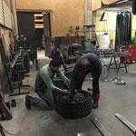 Konstruktion und Montage Reifenwalze