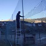 Abbau Fußballplatznetze