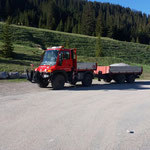 Flickschottertransport zum Waldbad