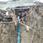 Wasserleitungsarbeiten, Baustelle Burgplateau