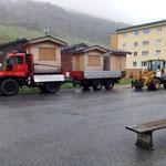 Hüttentransport Zürs - Lech, mit Lader 509 und U400 mit Gögl Tandemhänger