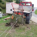 Unterstützung für Wildbach, Bagger-Sicherung mit U1600 und Winde