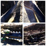 Durch Aushubarbeiten nötige Wasserleitungs-Reparaturarbeiten, Chalet Hofbauer, Oberlech