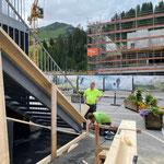 Infocontainer Gemeindezentrum, Holzverschalung anfertigen