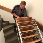 Zusatzbestuhlung abbauen Empore Neue Kirche