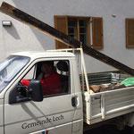 """Materialabholung """"Hinter""""dachreparatur Gemeindeamt"""