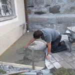 Bodenplatte für Friedhofsbrunnen betonieren