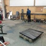 Arbeiten in der Schlosserei für Rohrlager neu am Bauhofdach