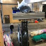 Rückbau Postgarage nach Abschlusskonzert Musikschule, Versorgen von Bühnenelementen