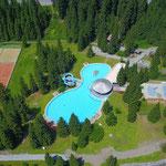Schöne Fotos von oben. Das Waldbad Lech mit neuen Kinderbecken