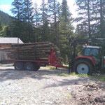 Rundholztransport für Brennholz Grillstellen
