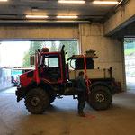 Kabeltrommel für Arlberg Classic Car Rally verladen, mit U1600