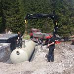 Kinderbecken neu: Setzen des Tanks