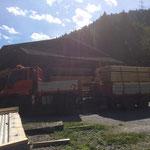 Schnittholztransport mit U400, Sägerei Dalaas