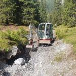 Rückeweg vorbereiten für Abtransport Holz Windwurf Spullerwald