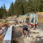 Betonierarbeiten vorbereiten am Bauhofdach