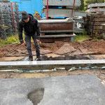 Vorbereitungsarbeiten für Isolierung nach Betonschneidearbeiten