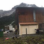 Aufbau Müllhütte Gasthaus Älpele