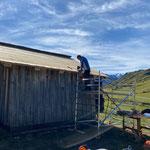 Dach schindeln mit Lärchenschindeln, dreifach