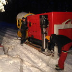 Mobile Schneekanone stellen, Schneeflucht Zug