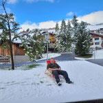 Zwischendurch den ersten Schnee genießen!